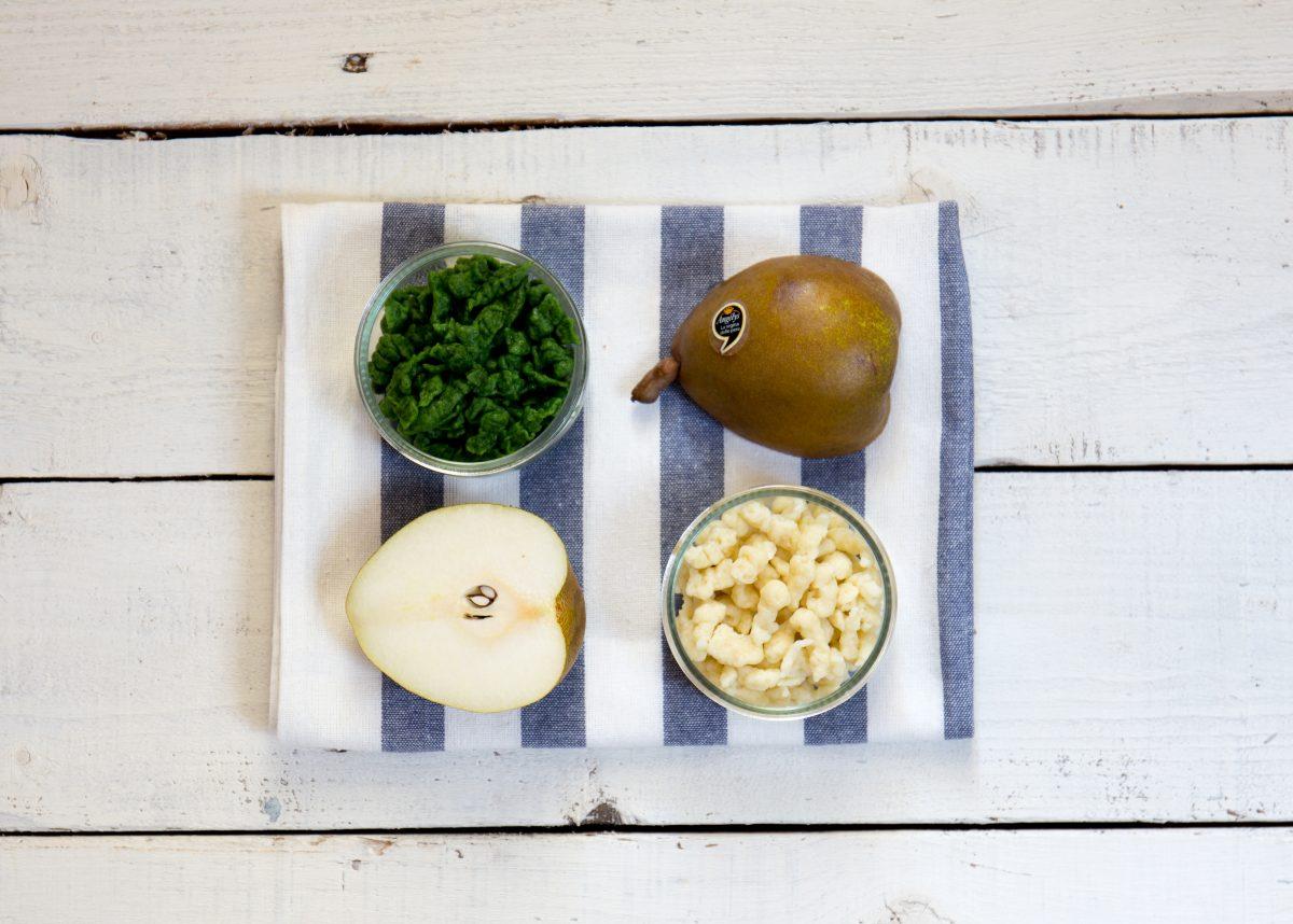 Spatzle di spinaci e pere angélys con crema di parmigiano