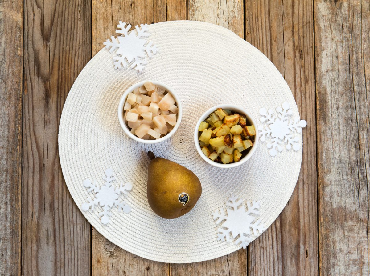 Alberelli di spinaci con pere e patate