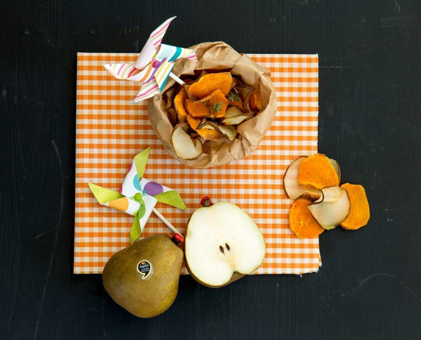 Chips di pera Angelys e patata dolce al timo