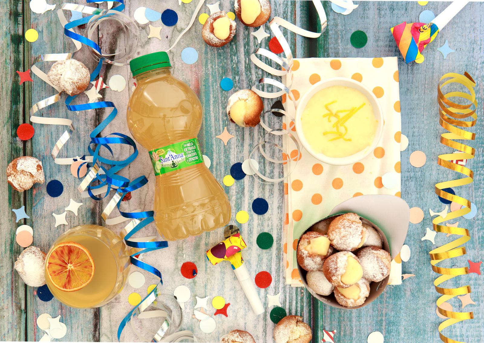 Castagnole al profumo di arancia e zenzero con crema di Sant'Anna Karma Verde